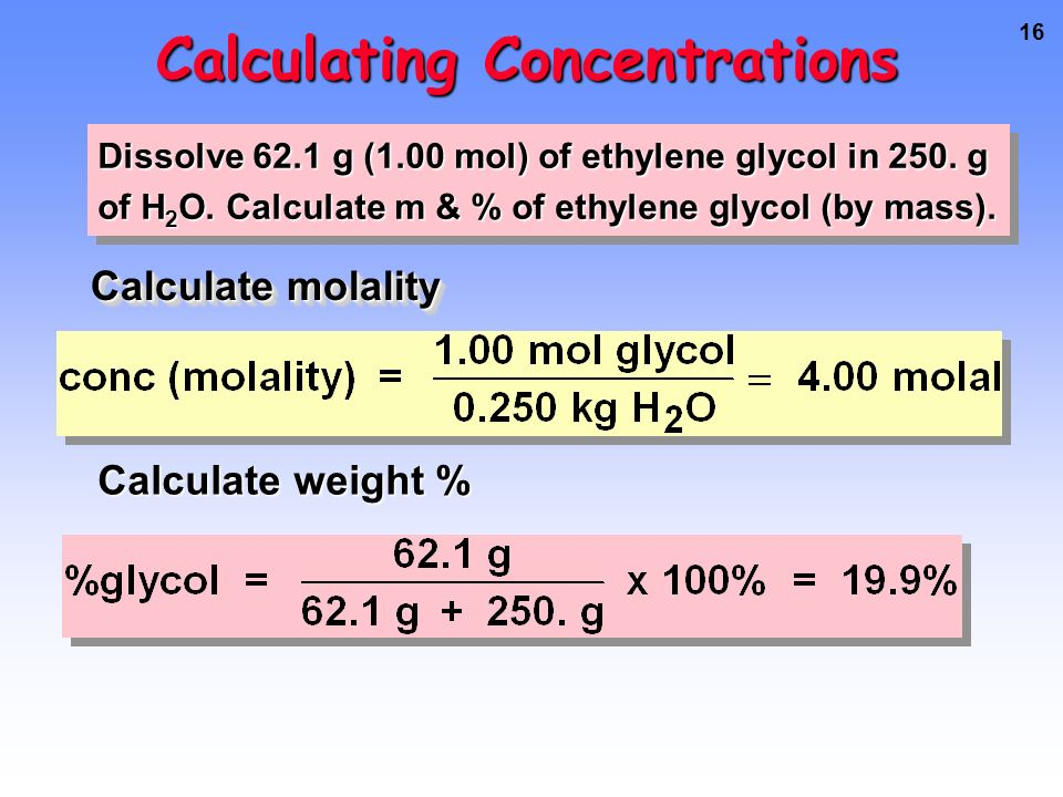 15 Calculating Concentrations Dissolve 62.1 g (1.00 mol) of ethylene glycol in 250.