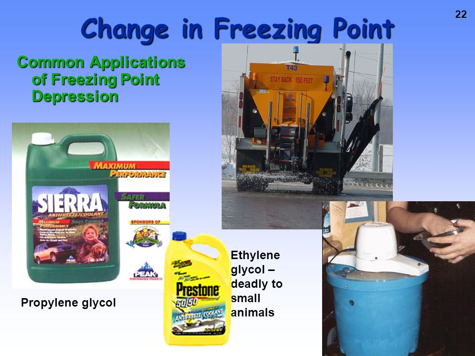21 Change in Freezing Point The freezing point of a solution is LOWER than that of the pure solvent Pure water Ethylene glycol/water solution