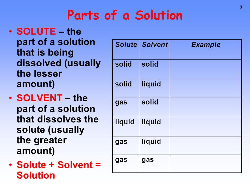 2 Some Definitions A solution is a mixture of 2 or more substances in a single phase.