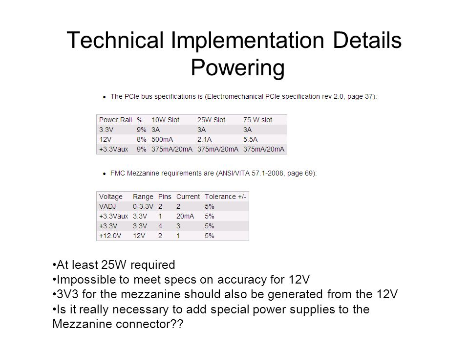 Technical Implementation Details Powering At least 25W required Impossible to meet specs on accuracy for 12V 3V3 for the mezzanine should also be generated from the 12V Is it really necessary to add special power supplies to the Mezzanine connector