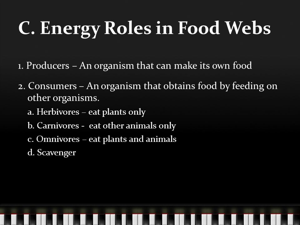 C. Energy Roles in Food Webs 1. Producers – An organism that can make its own food 2.