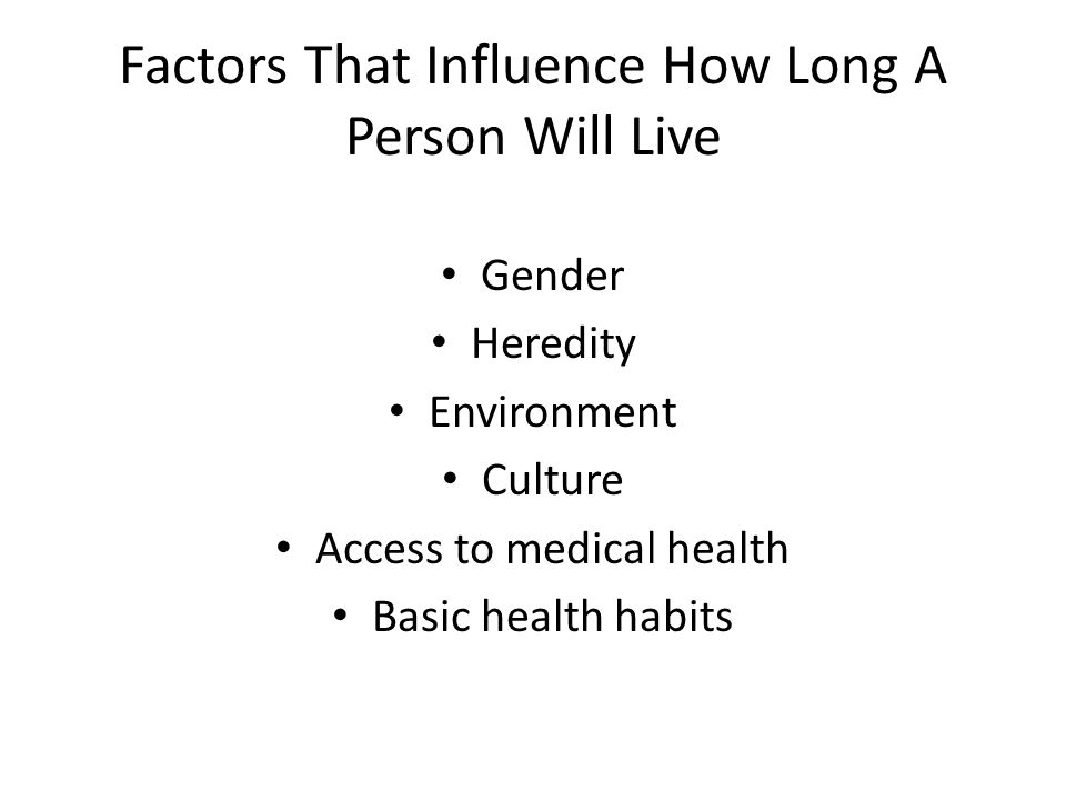 Factors That Influence How Long A Person Will Live Gender Heredity Environment Culture Access to medical health Basic health habits