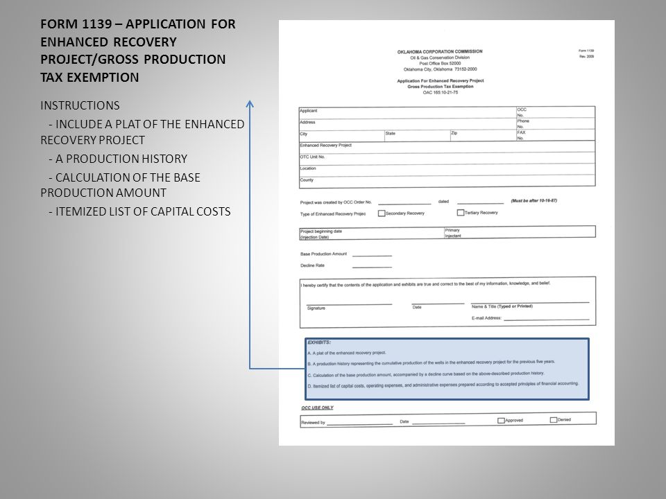 Form 1139 Application For Enhanced Recovery Projectgross