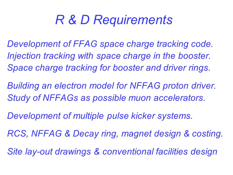 R & D Requirements Development of FFAG space charge tracking code.