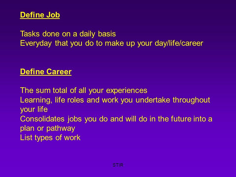 stir what is a career define work list types of work paid unpaid