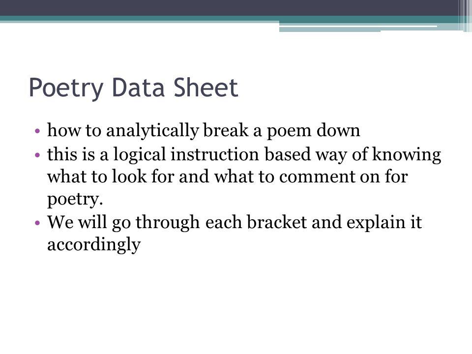 AP Language and Composition Poetry Unit  Unit Objectives