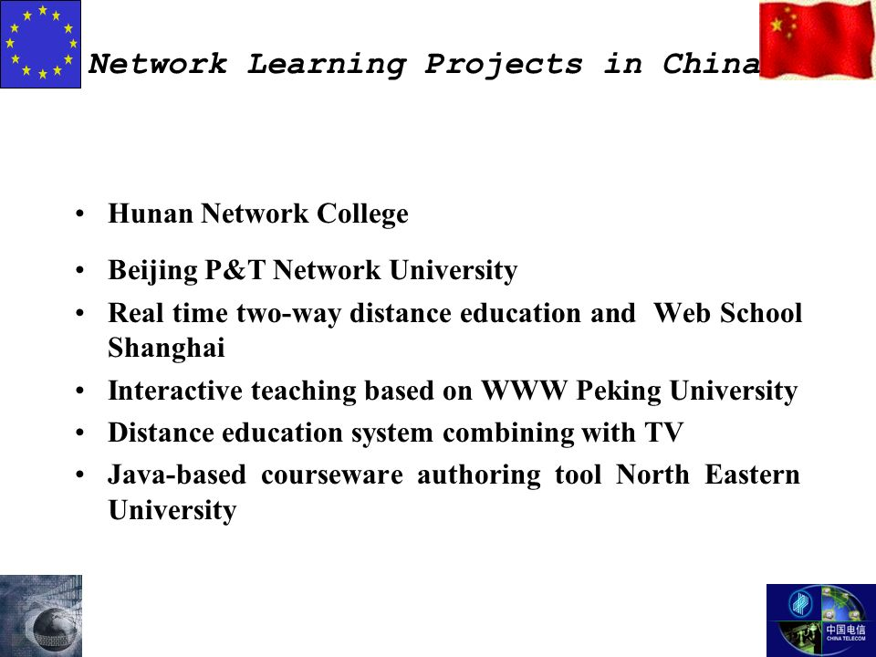 Network Learning Projects in China Hunan Network College Beijing P&T Network University Real time two-way distance education and Web School Shanghai Interactive teaching based on WWW Peking University Distance education system combining with TV Java-based courseware authoring tool North Eastern University