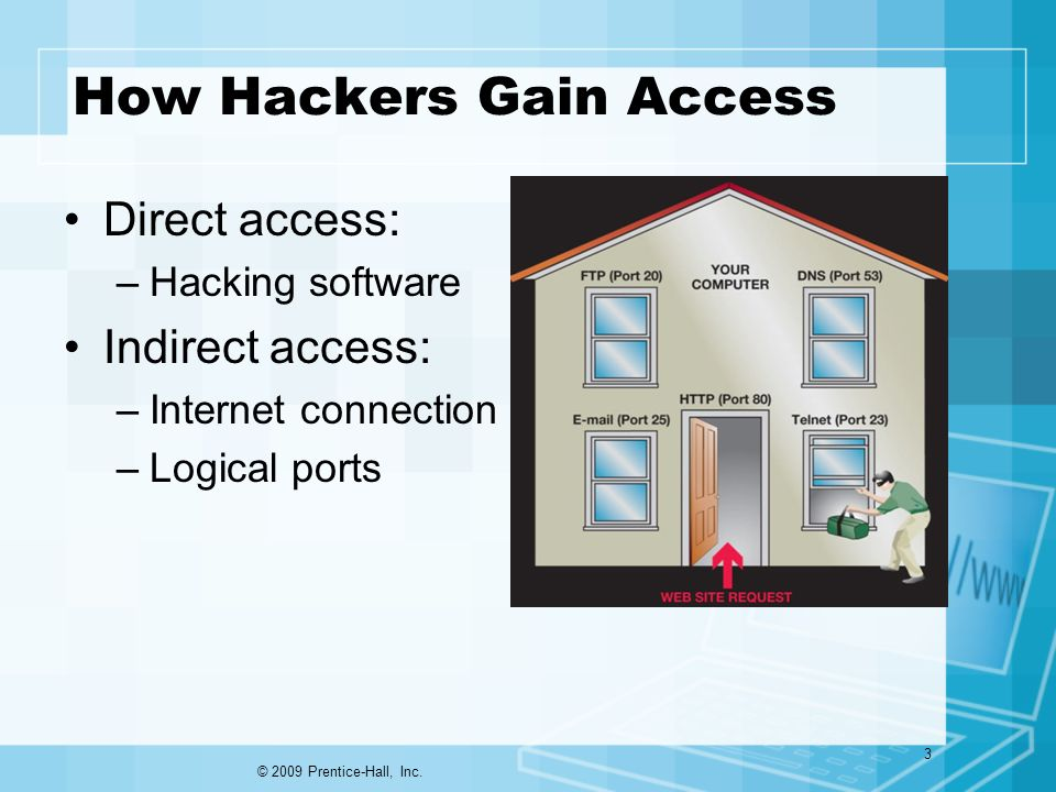 How Hackers Gain Access Direct access: –Hacking software Indirect access: –Internet connection –Logical ports © 2009 Prentice-Hall, Inc.