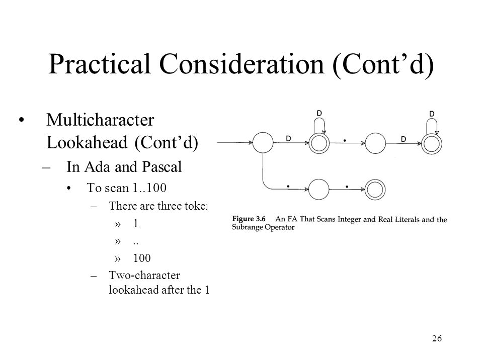 26 Practical Consideration (Cont'd) Multicharacter Lookahead (Cont'd) –In Ada and Pascal To scan –There are three token »1 »..