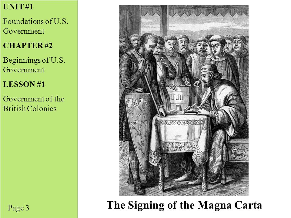 Page 3 The Signing of the Magna Carta UNIT #1 Foundations of U.S.