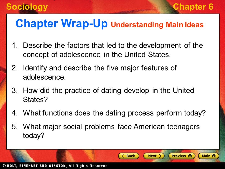 Major functions of dating in adolescence