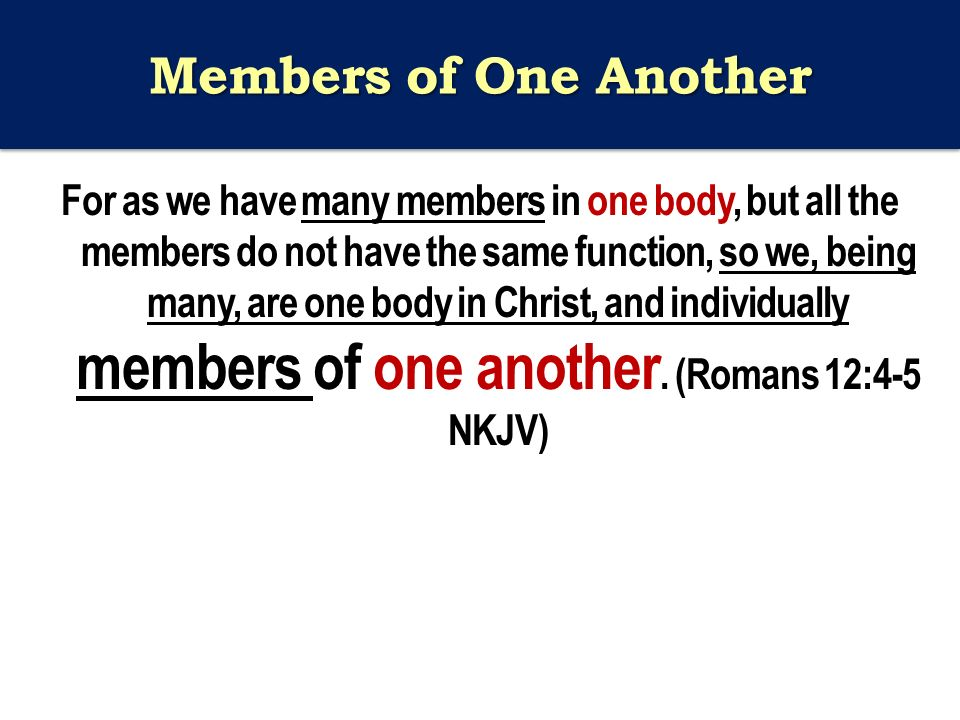 Members of One Another For as we have many members in one body, but all the members do not have the same function, so we, being many, are one body in Christ, and individually members of one another.