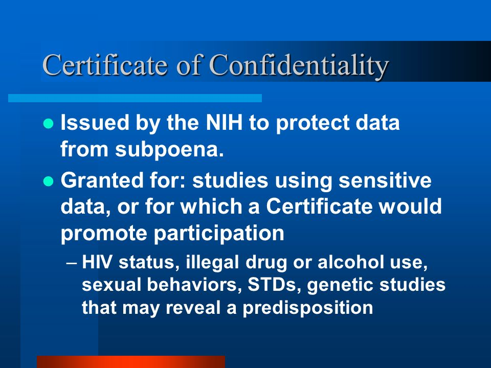 Confidentiality Issues in Research with Human Subjects Sarah Frankel ...