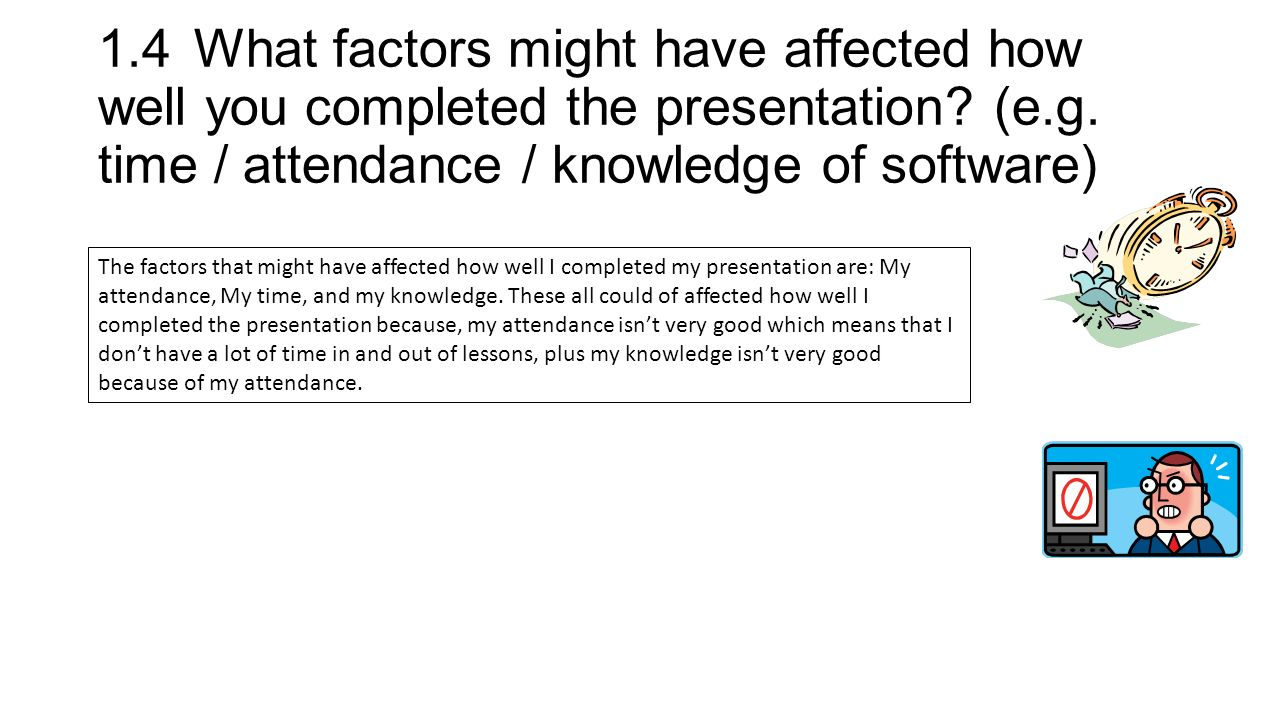 1.4What factors might have affected how well you completed the presentation.