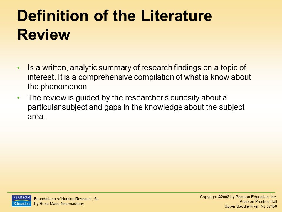 purpose of the literature review nieswiadomy