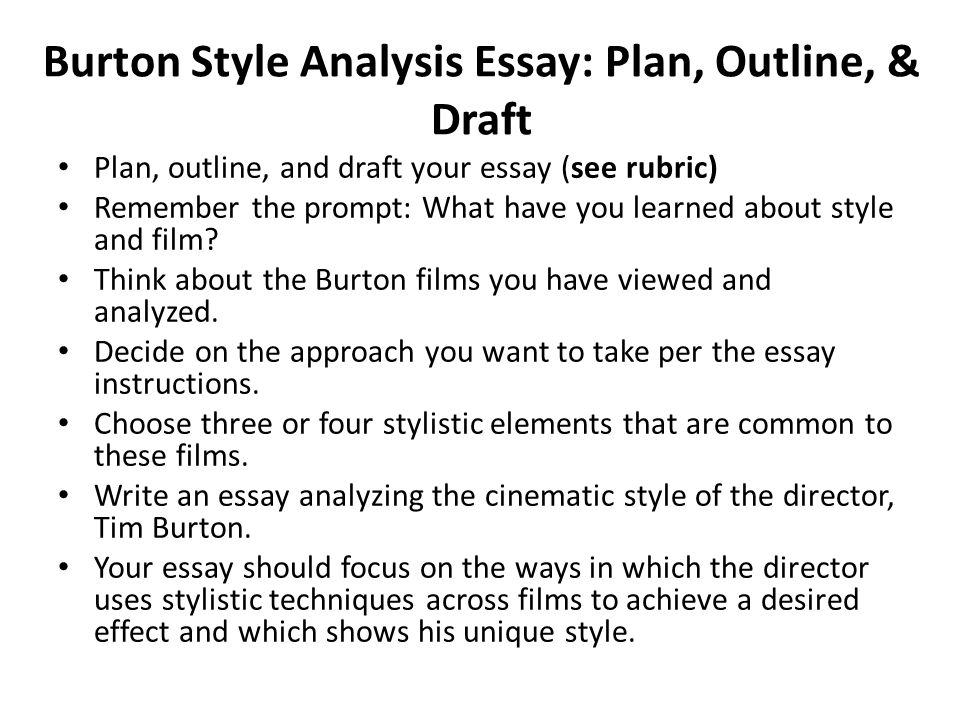 Burton style analysis essay plan outline draft plan outline