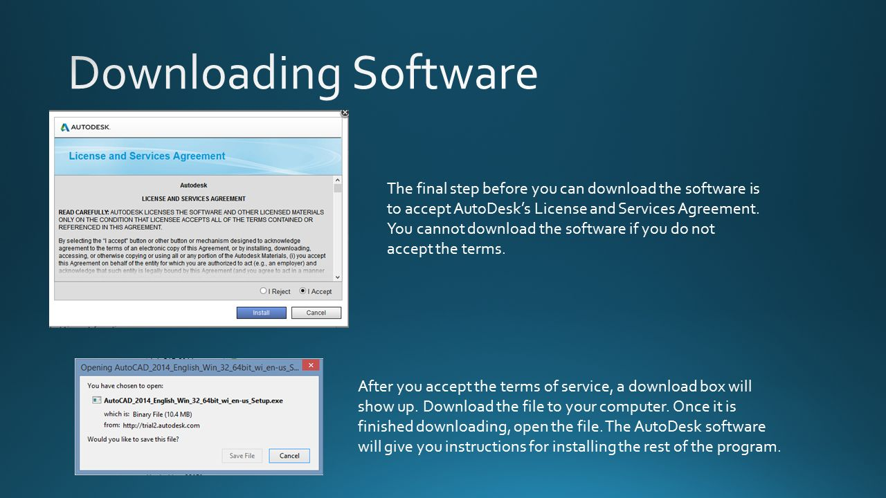 The final step before you can download the software is to accept AutoDesk's License and Services Agreement.