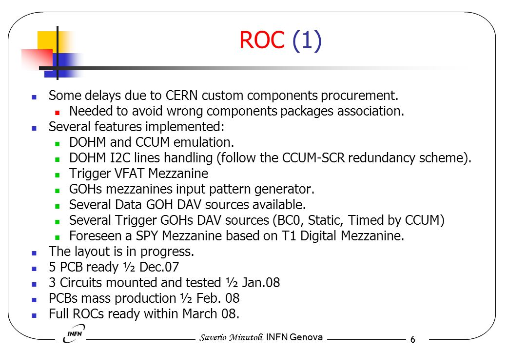 Saverio Minutoli INFN Genova 6 6 ROC (1) Some delays due to CERN custom components procurement.