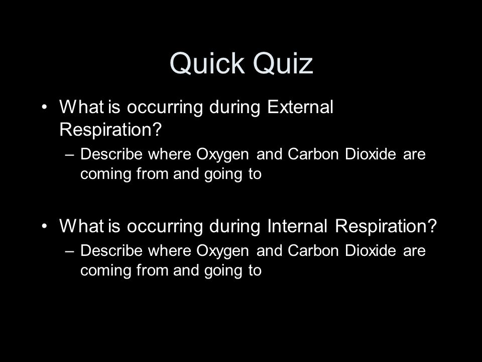 Quick Quiz What is occurring during External Respiration.