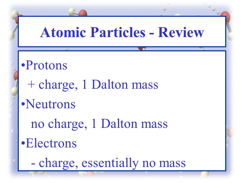Atomic Particles - Review Protons + charge, 1 Dalton mass Neutrons no charge, 1 Dalton mass Electrons - charge, essentially no mass