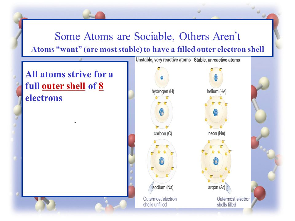 . Some Atoms are Sociable, Others Aren't Atoms want (are most stable) to have a filled outer electron shell All atoms strive for a full outer shell of 8 electrons