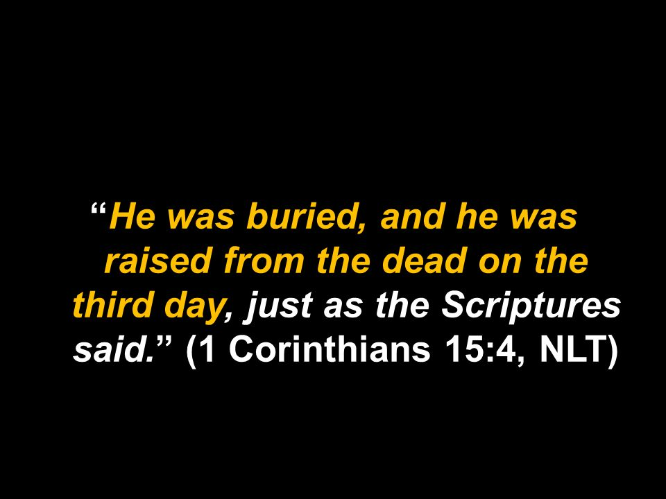 He was buried, and he was raised from the dead on the third day, just as the Scriptures said. (1 Corinthians 15:4, NLT)