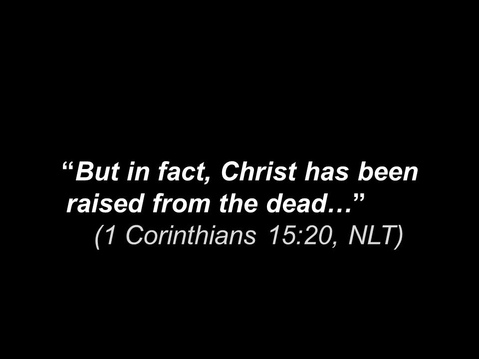 But in fact, Christ has been raised from the dead… (1 Corinthians 15:20, NLT)