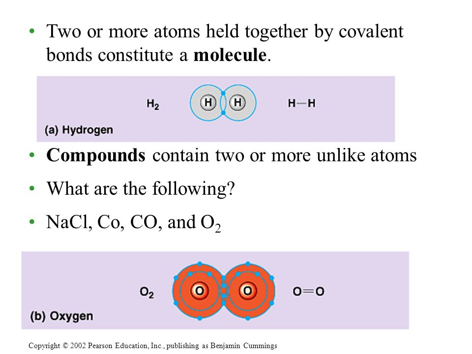 Two or more atoms held together by covalent bonds constitute a molecule.