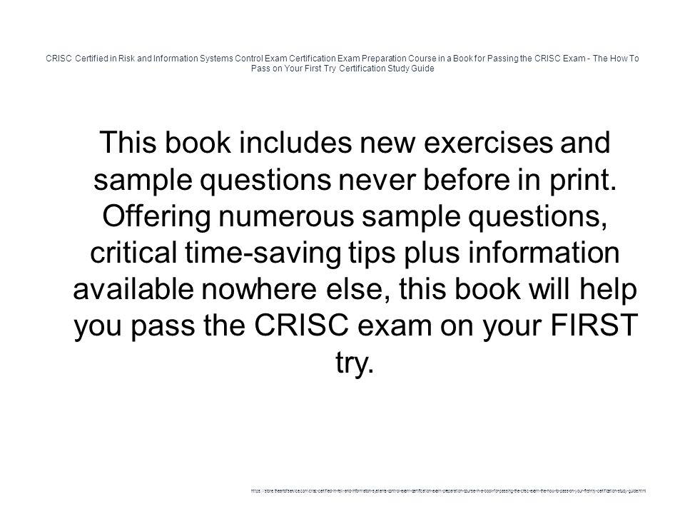 CRISC Certified in Risk and Information Systems Control Exam ...