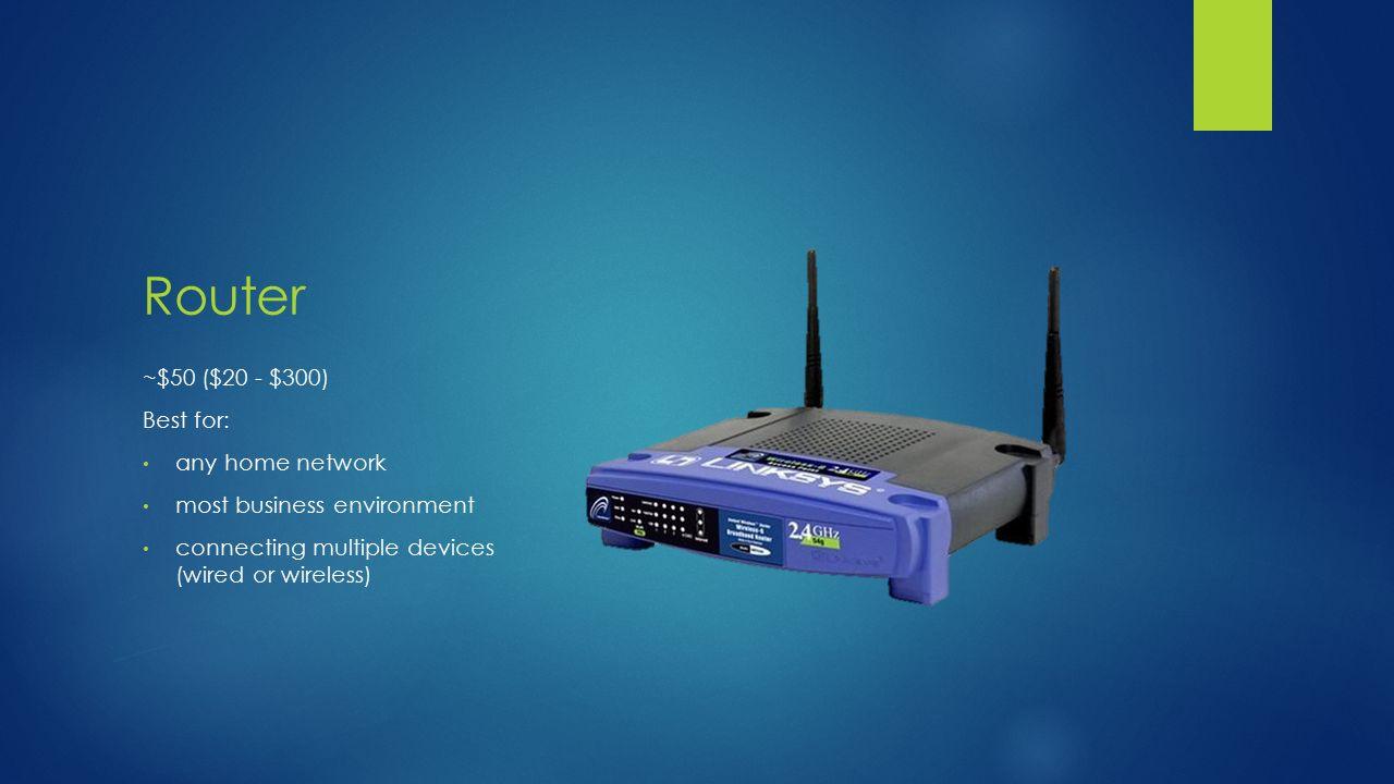 Networking Components DAVID INGUANZO 7/10/14. HUB ~$20 ($20 - $1,000 ...