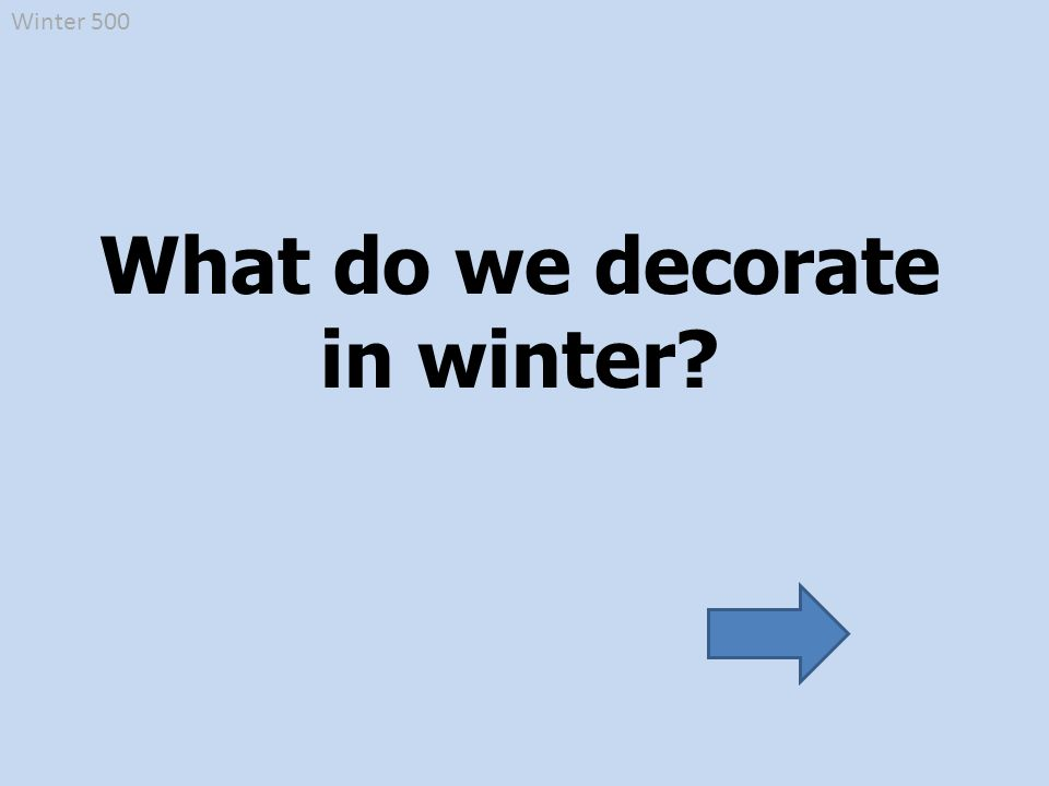 Winter 500 What do we decorate in winter