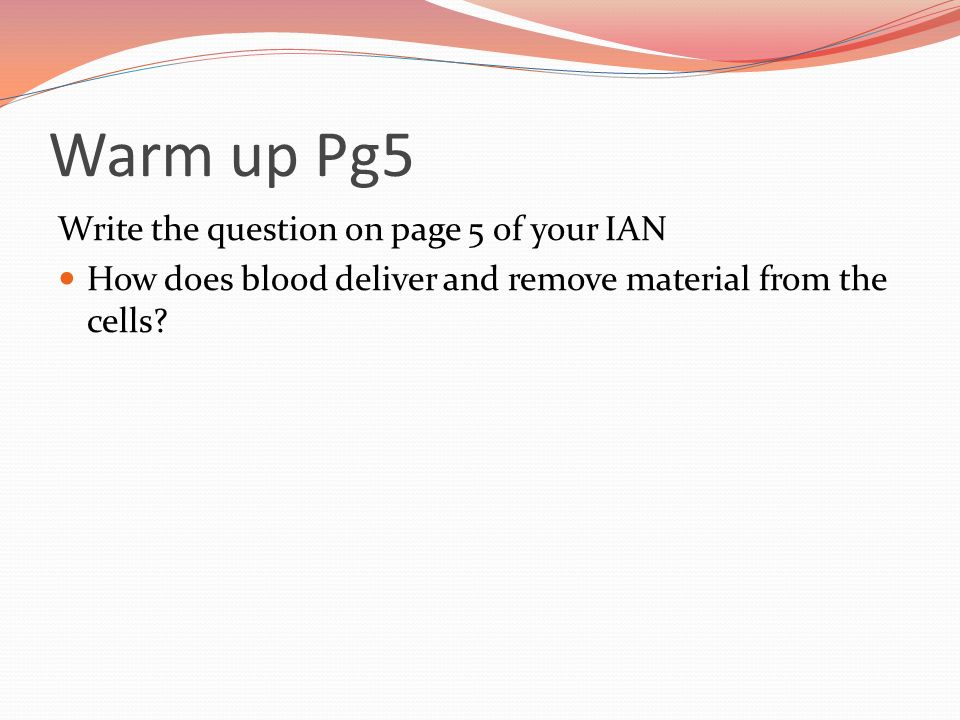 Warm up Pg5 Write the question on page 5 of your IAN How does blood deliver and remove material from the cells