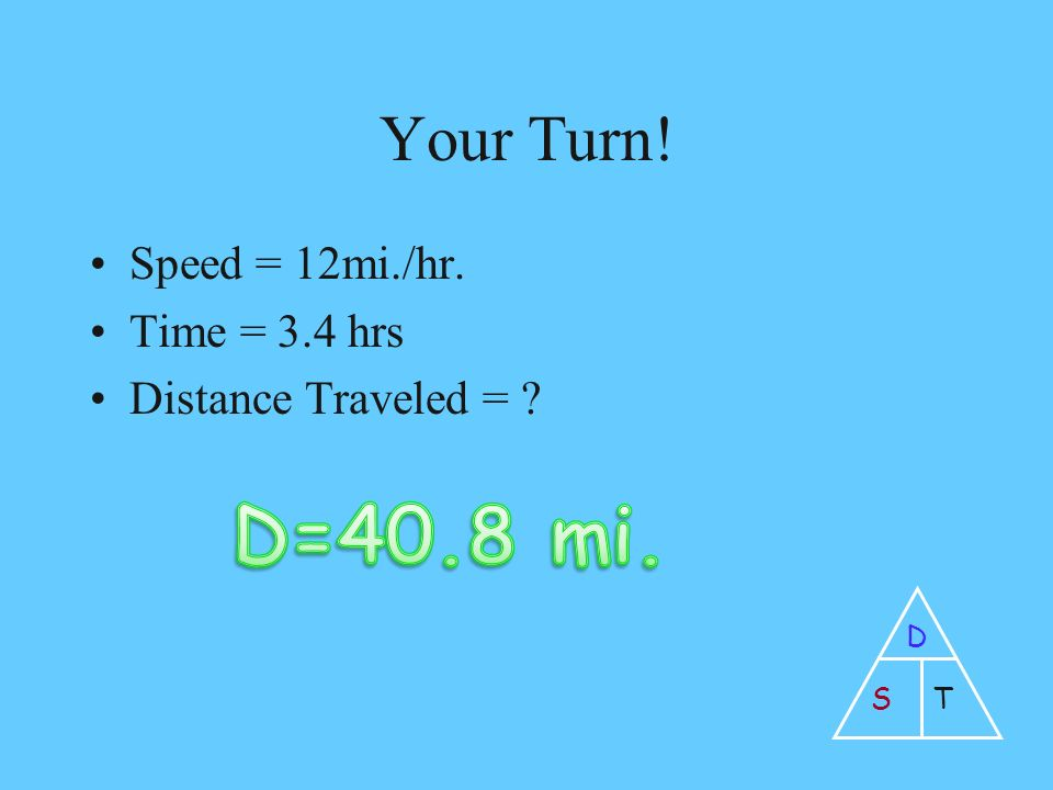Your Turn! Speed = 12mi./hr. Time = 3.4 hrs Distance Traveled = D ST