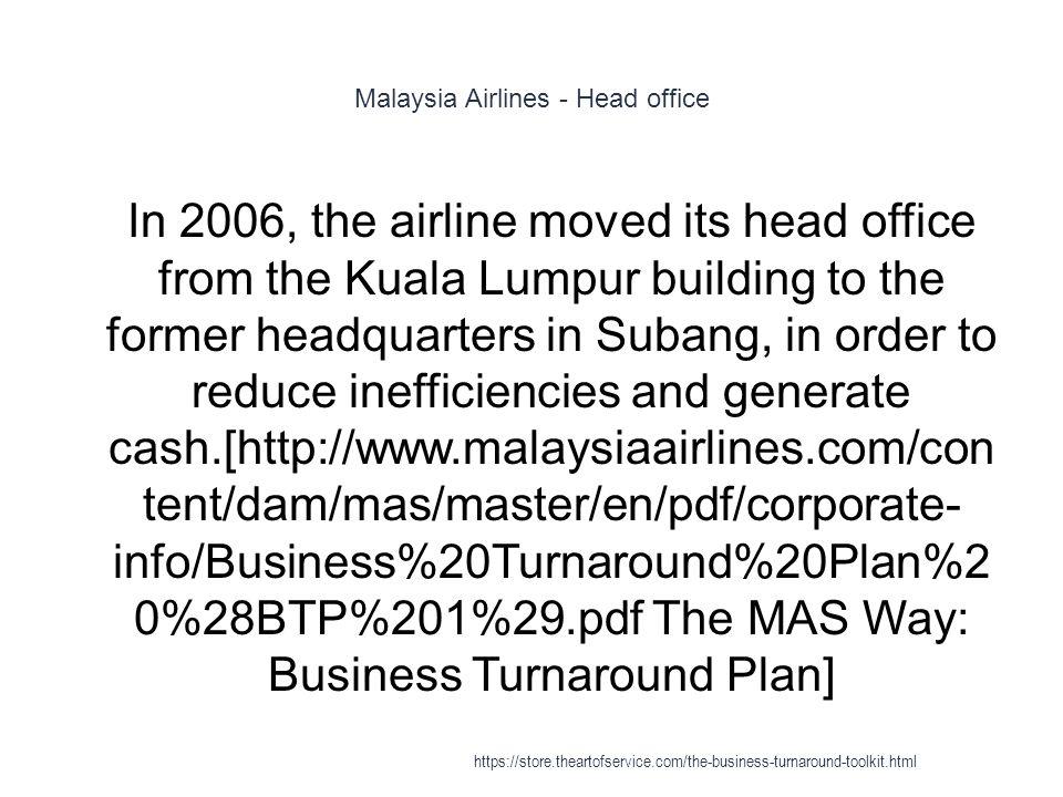 malaysia airlines business turnaround plan