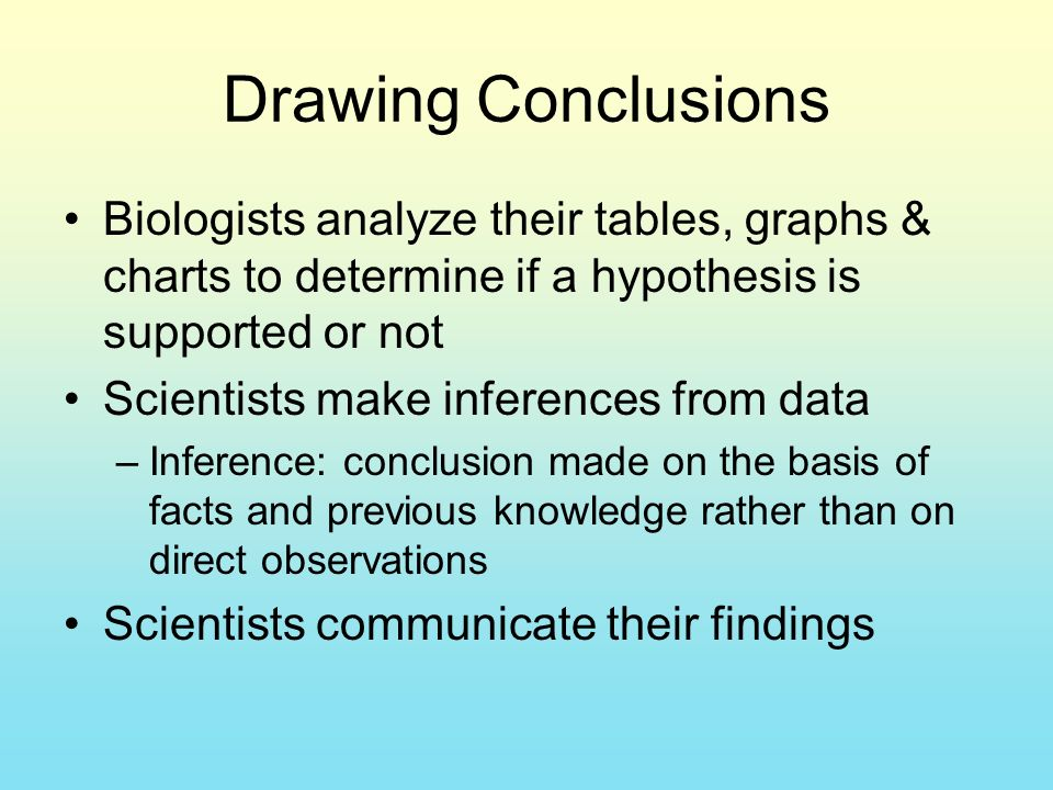 Drawing Conclusions Biologists analyze their tables, graphs & charts to determine if a hypothesis is supported or not Scientists make inferences from data –Inference: conclusion made on the basis of facts and previous knowledge rather than on direct observations Scientists communicate their findings