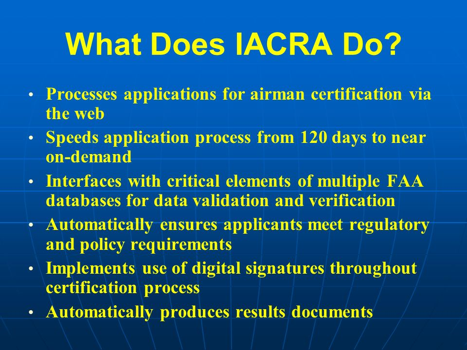 Integrated Airman Andor Rating Application Iacra Ppt Download