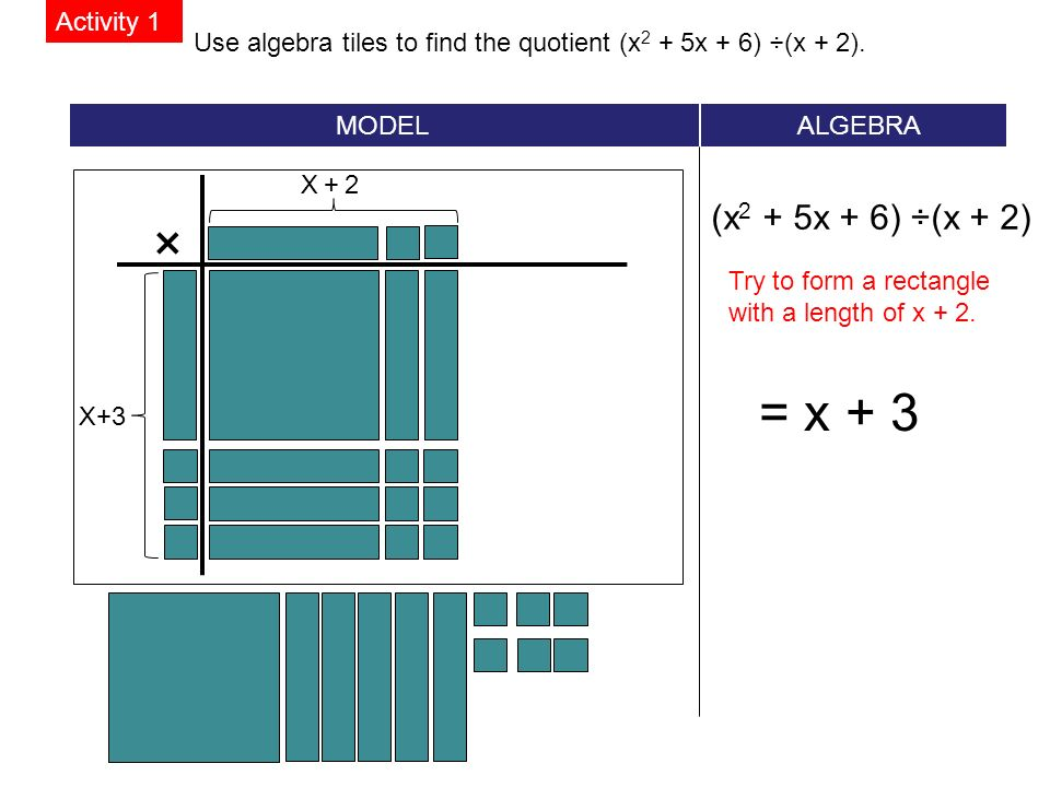 Use algebra tiles to find the quotient (x 2 + 5x + 6) ÷(x + 2).