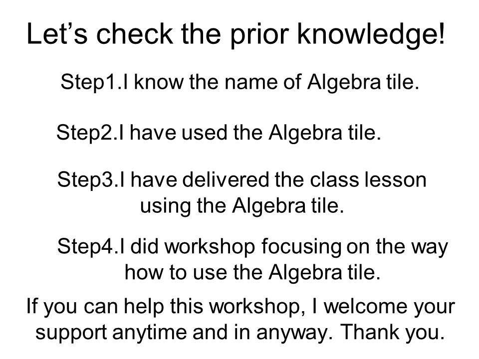 Let's check the prior knowledge. Step1.I know the name of Algebra tile.