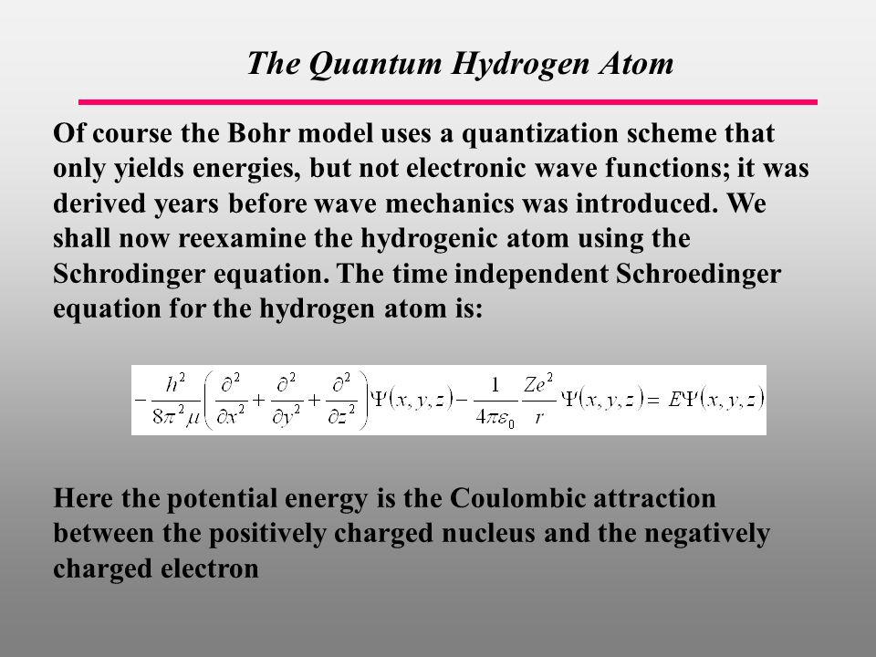 The Quantum Hydrogen Atom Of course the Bohr model uses a quantization scheme that only yields energies, but not electronic wave functions; it was derived years before wave mechanics was introduced.
