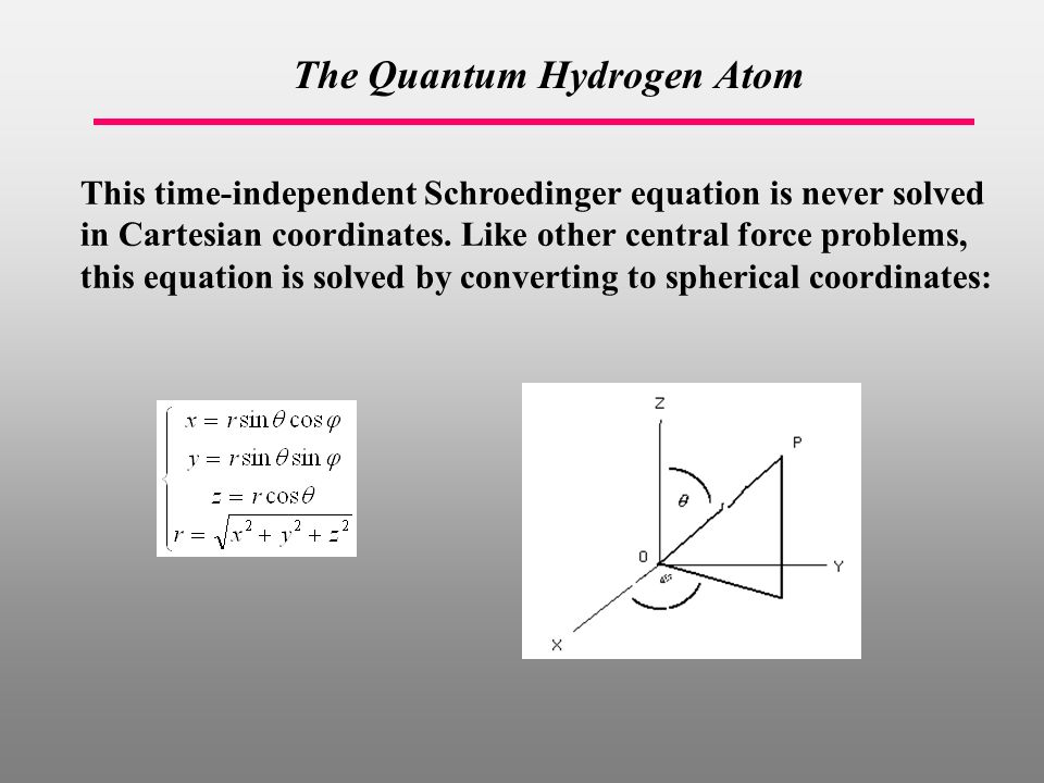 The Quantum Hydrogen Atom This time-independent Schroedinger equation is never solved in Cartesian coordinates.