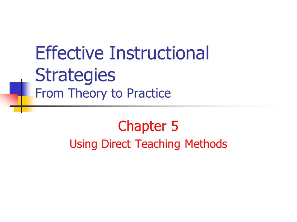 Effective Instructional Strategies From Theory To Practice Chapter 5