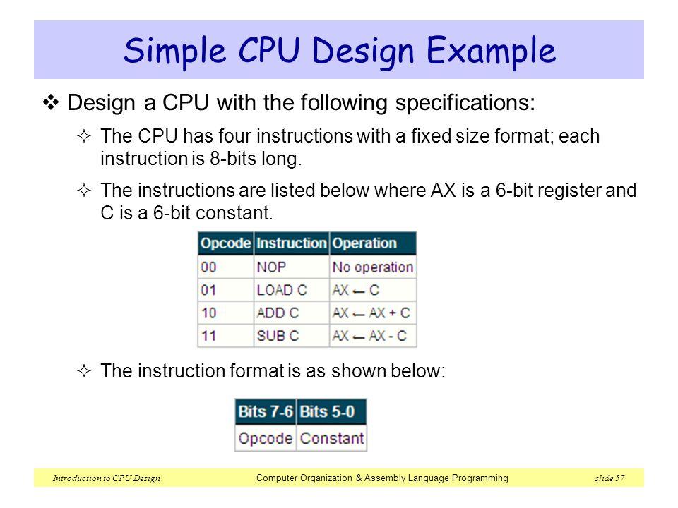 Lec 5 Introduction to CPU Design  Introduction to CPU Design