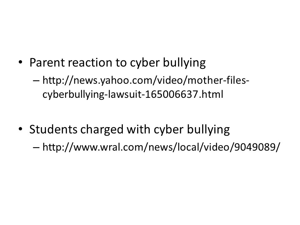 Video Clips Cyber bullying. Parent reaction to cyber bullying ...