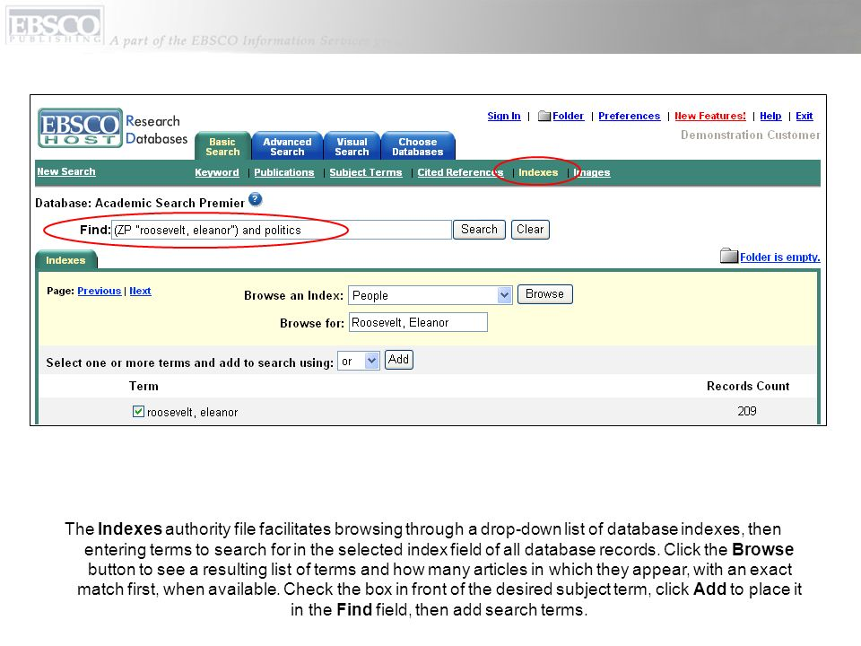 The Indexes authority file facilitates browsing through a drop-down list of database indexes, then entering terms to search for in the selected index field of all database records.