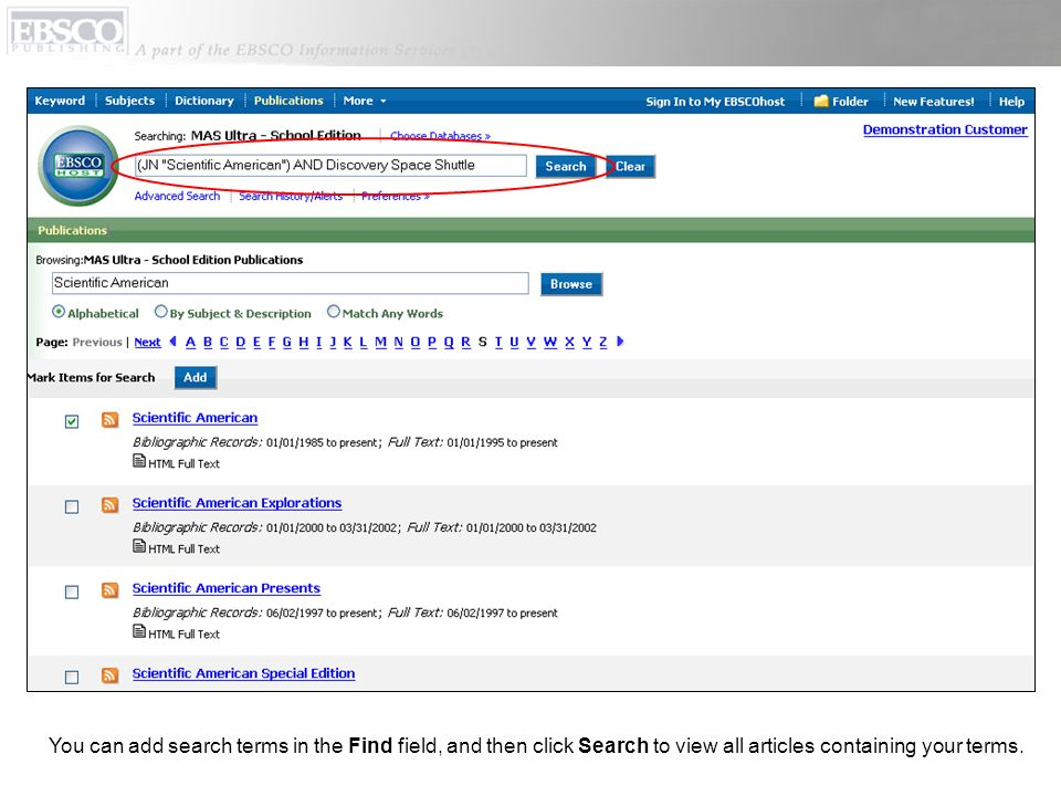 You can add search terms in the Find field, and then click Search to view all articles containing your terms.