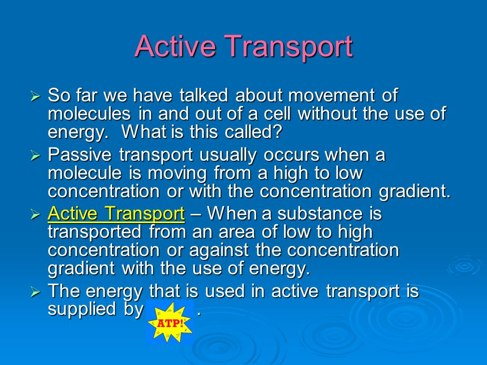 Active Transport  So far we have talked about movement of molecules in and out of a cell without the use of energy.