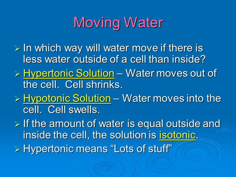 Moving Water  In which way will water move if there is less water outside of a cell than inside.
