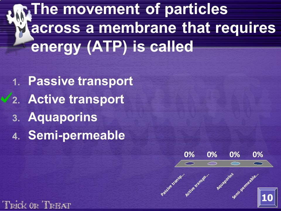 The movement of particles across a membrane that requires energy (ATP) is called 1.