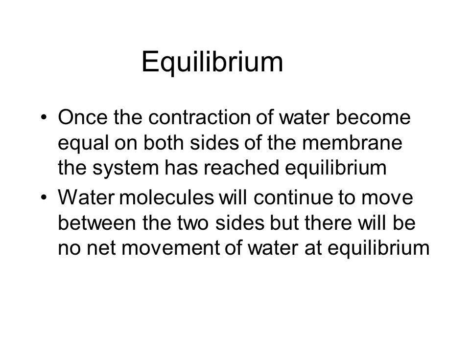 Equilibrium Once the contraction of water become equal on both sides of the membrane the system has reached equilibrium Water molecules will continue to move between the two sides but there will be no net movement of water at equilibrium