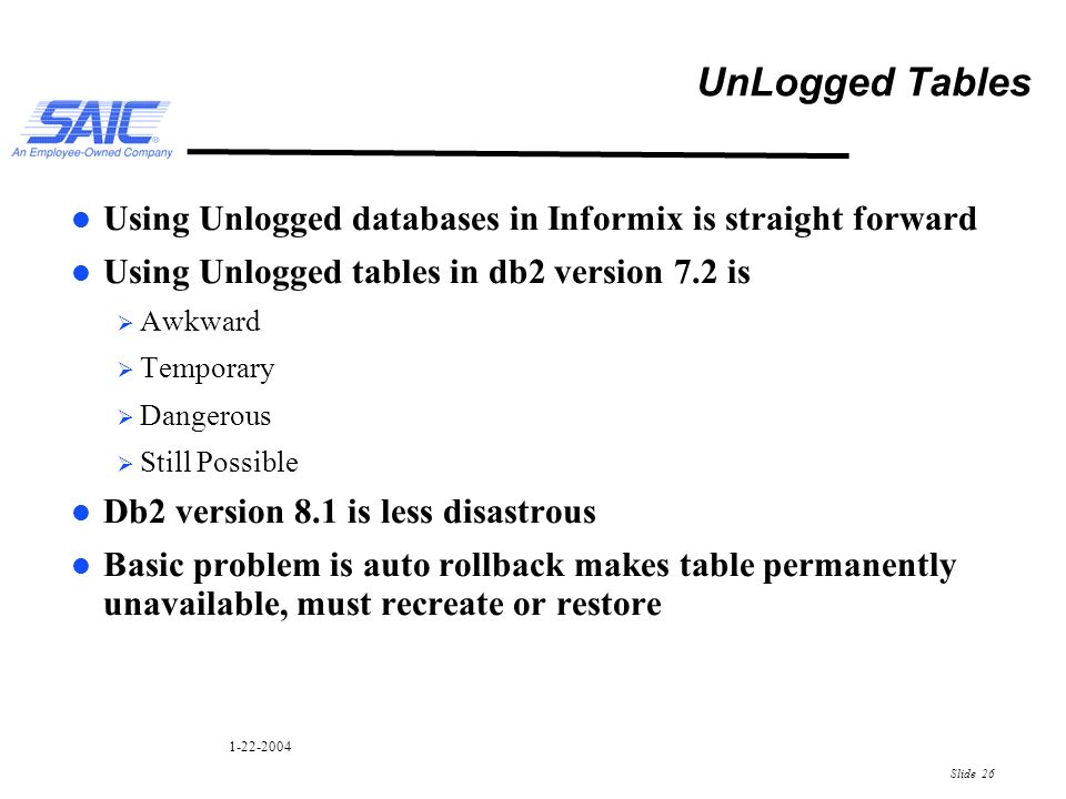 Informix and DB2 an SQL Perspective  Slide Informix and DB2